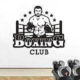 Boxing Club Logo Wall Art Sticker Gym Studio Decorazione creativa Boxe Men Design Wall Decal 88x82 cm