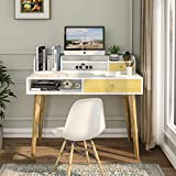 Itaar Home Office Desk, Writing Computer Desk with Drawers & Detachable Hutch, Modern Work Study Table Desk with Solid Legs for Home Office, White