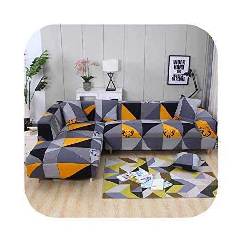 shop 1994 2021 Orange Geometric Sofas Covers Universal L-Shaped Sofa Cover Elastic Force Sectional Sofa Cover Living Room Furniture Cover-25-1-seat 90-140cm
