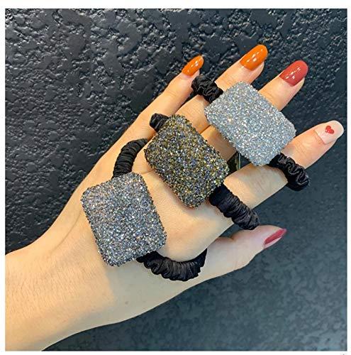 Full Flash Taladro Cabeza Cuerda Ponytail Holder Rhinestone Accesorios para el cabello para las mujeres Tie Bandas de goma Anillo de pelo femenino 3pcs