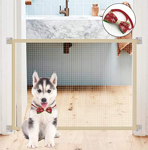 """WPG Portable Pet Safety Door Guard, Safety Fence for Hall Doorway, Wide 43"""", Beige, Nylon mesh with Stainless Steel Tube, 9 Hooks, 1 pet tie."""