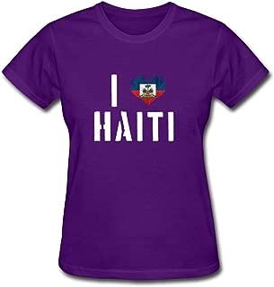 T-shirt I Heart Haiti W/ Haiti Flag_white Boston Text Cotton Women Shirts