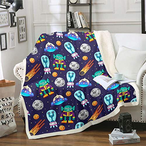 Tecknat utomjordingstryck fleece filt planeter yttre rymden tema sherpa filt för soffa säng soffa vuxen övernaturliga kampanj varelser plysch filt unik luddig filt rum dekor dubbel 60 tum x 200 cm