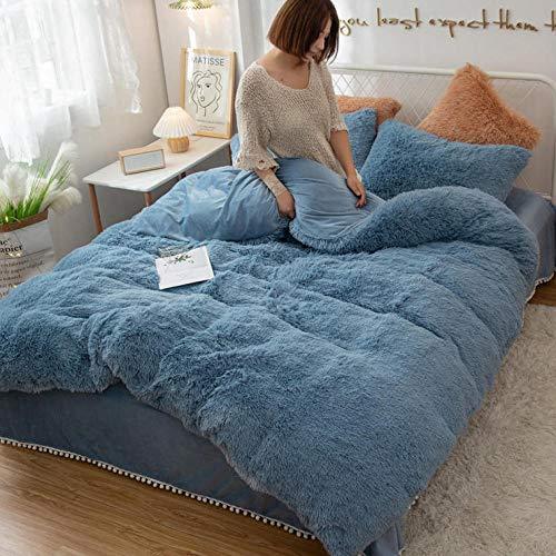 LCFCYY Ropa de Cama de Funda nórdica,Funda nórdica Falaise Engrosada en Invierno, Funda de Almohada para apartamento de Dormitorio con sábanas de Felpa de Color sólido cálido-Blue_1.5m_Bed (4pcs)