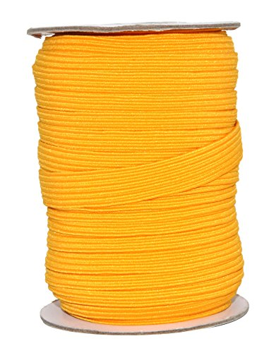 Mandala Crafts Flat Elastic Band, Braided Stretch Strap Cord Roll for Sewing and Crafting; 1/2 inch 12mm 20 Yards Gold