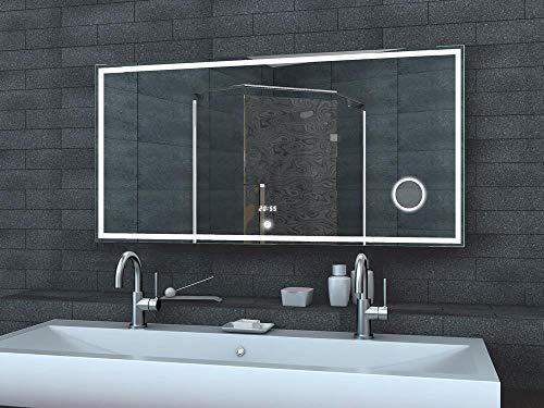 Lux-aqua badkamerspiegel wandspiegel lichtspiegel LED klok make-up spiegel TOUCH schakelaar 120 x 60 cm - LMC1260A