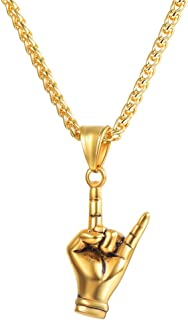 Italian Horn Charm Amulet Necklace Stainless Steel/18K Gold Plated Talisman Italian Jewelry Lucky Pendant, Customizable