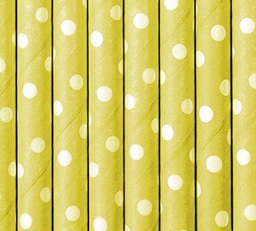 Set 10 Cannucce di Carta Gialle con Pois Bianchi da 19,5 cm di Lunghezza ideali per Matrimonio Eventi Feste di Compleanno
