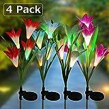 Solar Garden Lights, 4 Pack Solar Lily Flower Lights Multi-Color Changing Landscape Lighting