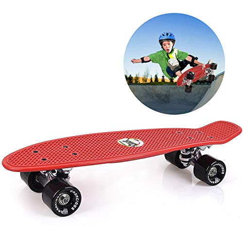 GASACIODS 22 Inch Mini Cruiser Skateboard, Complete Plastic Retro Board with Bendable Deck and Smooth PU Casters/Speed for Kids Youths Beginners, 220 Ibs(RED)
