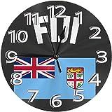 BINGTANGXUELI Co.,ltd Wanduhr Fidschi Flagge Uhr Nummer R&e Wanduhr Arabische Ziffern Uhr Silent Non Ticking Clock Dekor Bunte Wohnküche Schule 9.5 Zoll