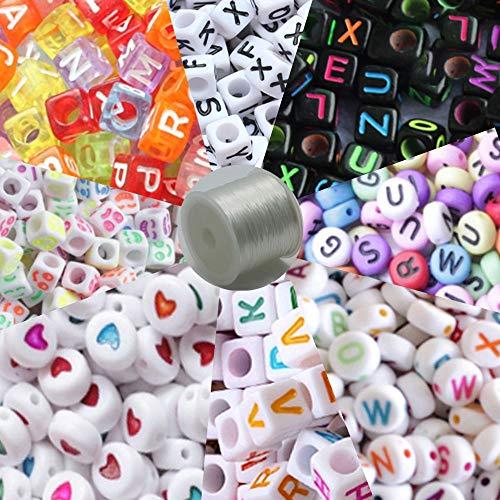 Kitchen-dream 800 piezas de cuentas de letras, letras de alfabeto de acrílico, cuentas de alfabeto para hacer joyas con letras coloridas para niños pulseras de bricolaje, collares