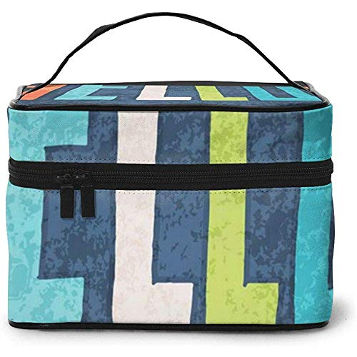 Hello Love Portable Ladies Travel Cosmetic Case Bag Storage Makeup Pouch Multi-Function Wash Grand Capacity Makeup Bag