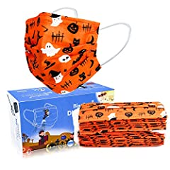 【3 Layer Filter System】Our disposable masks are composed of outer non-woven fabric + meltblown fabric + inner non-woven fabric, effectively filters out more air particles. 【Skin Friendly & Comfortable】Highly breathable disposable Halloween theme 3 pl...