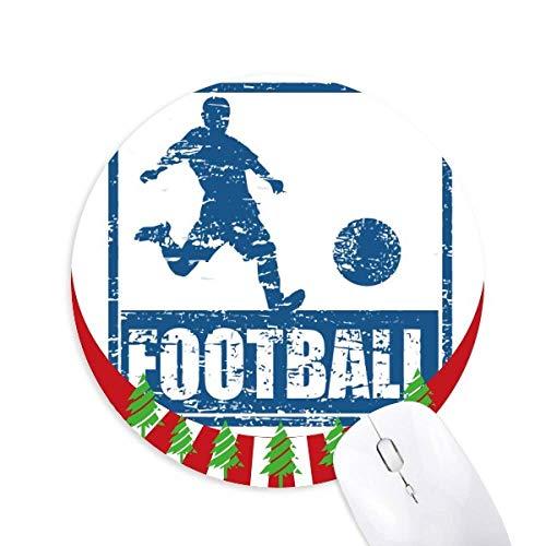 Blue Football Player Kick Football Round Rubber Maus Pad Weihnachtsdekoration