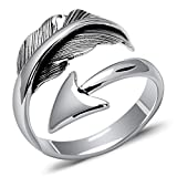 MetJakt Vintage 925 Sterling Silver Lover's Ring & Cupid's Arrow for Thai Silver Jewelry Open Ring Resizable