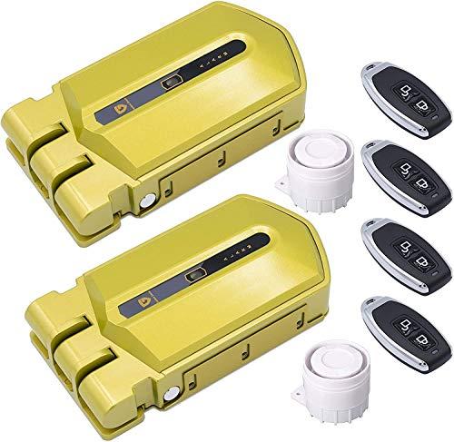 Duo Cerraduras Invisibles con Alarma 120db y 4 mandos incopiables
