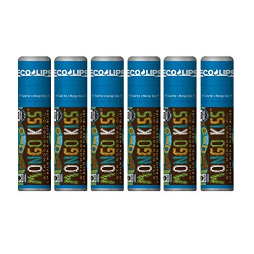 Eco Lips - Mongo Kiss Lip Balms - 100% Natural, Unflavored, Unscented, Lip Balms Featuring Organic Mongongo Oil - Made in USA (6 Tubes)