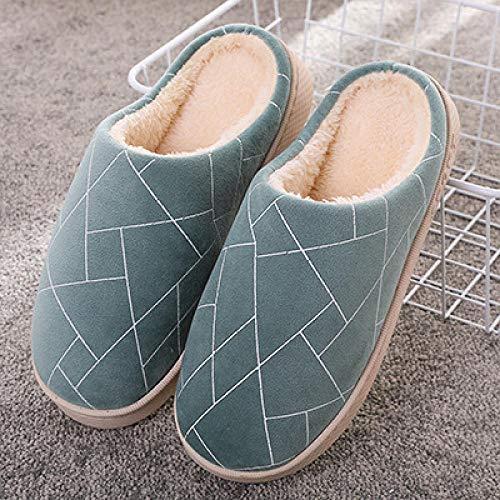 Nwarmsouth Slipper Ultraligero cómodo y Antideslizante,Zapatos de algodón de Suela Gruesa de Invierno, Pantuflas cálidas para el hogar-2 Verde_37-38,Calzado sin Cordones para Interiores y Exteriores