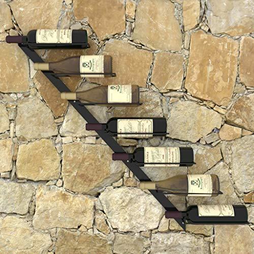 Lechnical Modernes praktisches Weinregal, Schwarzes Weinregal an der Wand 88 x 8 x 72 (BxTxH)