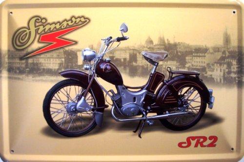Simson SR 2 weinrot Motorrad DDR Blechschild 20 x 30 cm