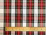 Tessuto tartan di qualità, stampa scozzese, bianco, rosso e verde, 100% cotone, al metro.