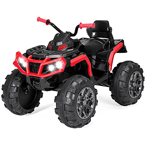 Best Choice Products 12V Kids Ride-On Electric ATV, 4-Wheeler Quad Car Toy w/ Bluetooth Audio, 3.7mph Max Speed, Treaded Tires, LED Headlights, Radio - Red
