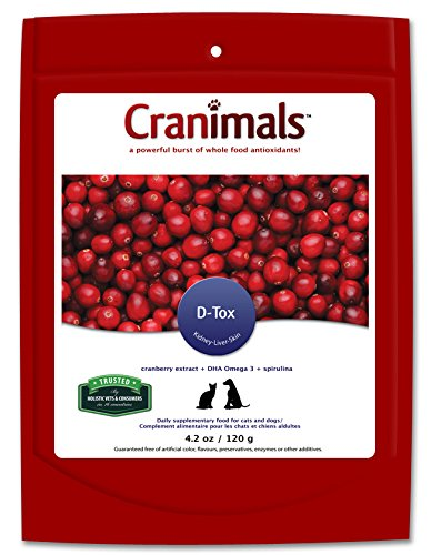 Cranimals DTOX Detoxification supplement with Superfood Spirulina for Cats and Dogs with added clean vegan DHA Omega 3 and antioxidant cranberry extract