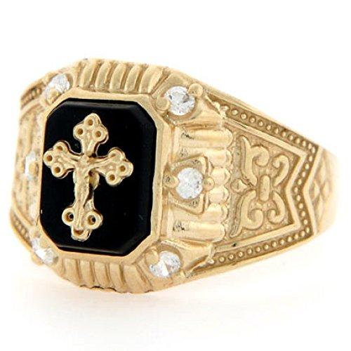 Jewelry Liquidation 10k Yellow Gold Crucifix Onyx CZ Religious Mens...