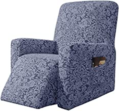 subrtex Stretch Rocking Recliner Silpcover Lazy Boy Chair Covers Non-silp for Leather and Fabric Sofa with Side Pocket (Grayish Blue, Recliner)
