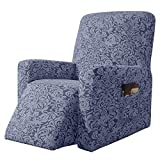 subrtex Stretch Rocking Recliner Silpcover Lazy Boy Chair Covers Non-silp for Leather and Fabric Sofa with Side Pocket (Grayish Blue)