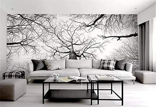 Papel Pintado 3D Tamaño Personalizado Bosque De Ramita Simple Blanco Y Negro Cuadros Decoracion Salon Modernos