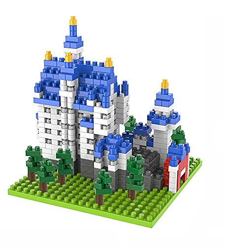 Modbrix Bloques de construcción castillo de Neuschwanstein arquitectura, juego de construcción, 530 bloques de construcción Nano