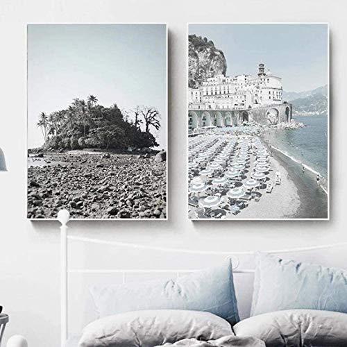 SXXRZA Obra de Arte para el hogar 2 Piezas 60x80cm Sin Marco Decoración navideña Carteles Edificios de Playa Barco Isla Tabla de Surf Cañas Arte de la Pared Imagen Decoración del hogar