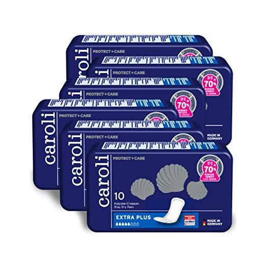 Caroli® Protect + Care Hygiene-Einlagen, Extra Plus, Vorteilspack (6 x 10 Stück), hautfreundlich und angenehm an der Haut, für mittlere Blasenschwäche