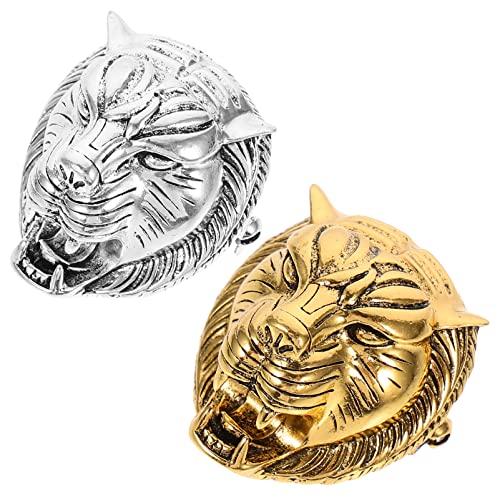 VALICLUD 2 Pcs Metallo Tiger Spille Vintage Testa di Animale Spilla Del Vestito Anno Animale Dello Zodiaco Gioielli per Le Donne E Gli Uomini