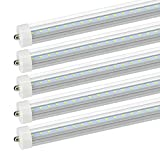 JESLED T8/T10/T12 8FT LED Tube Light, Single Pin FA8 Base, 45W 4800LM, 6000K Cool White, 8 Foot Dual Row LED Fluorescent Bulbs (100W Replacement), Clear Cover, Ballast Bypass (25-Pack)