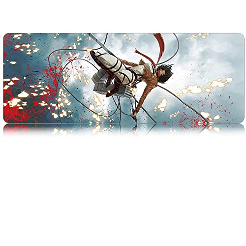 KaiWenLi Attack On Titan/Mikasa · Ackerman/Sky Blue Background Pattern/Anime Cartoon Mouse Pad/Oversized Version/Waterproof, Non-Slip, Anti-Dirty/E-Sports, Gaming, Office Essential/Impro