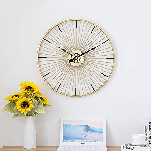 DC Wesley Arte de Hierro de Oro Sala de Estar Reloj Simple nórdica Creativo Reloj de Pared Europea Dormitorio Reloj Decorativo 65 * 65 (cm)