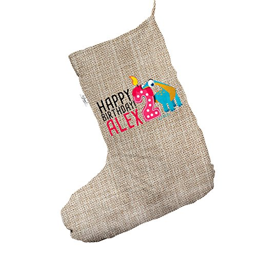 Personalizzato Baby Dinosaur 2nd birthday Jumbo in iuta Deluxe calza di Natale