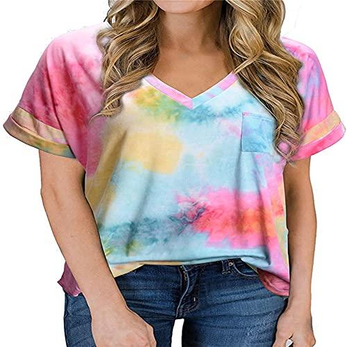 Camiseta de Mujer Tops de Manga Corta Camiseta de Color sólido con Cuello en V Dobladillo Largo Tops Casuales Blusa Mujer Casual Verano Suelta Blusa Estampada con Efecto Tie Dye Suelta de Moda