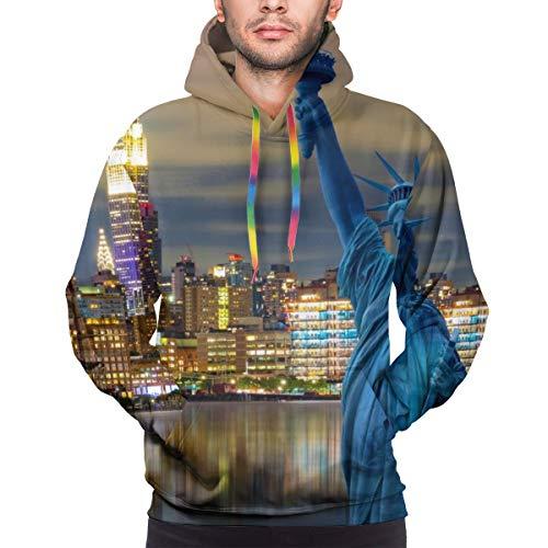 Hunter qiang Sudadera con Capucha para Hombre Skyline Cityscape, Monumentos históricos de la Ciudad de Nueva York, EE. UU, Sudadera XL