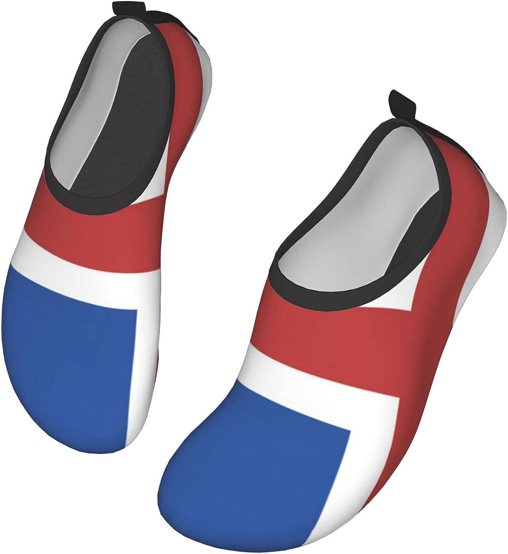 NAHOMER Barefoot Shoes Mens Womens Flag of Iceland Aqua Socks Quick-Dry Beach Shoes for Dive Surf Swim Yoga