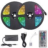 LED Strip 5050 RGB Waterproof 32.8FT 300 LEDs, Elekin Multicolor LED Strip Kit Can Cut, 20 Colors Strip Light 8 Modes Adjustable, Flashing Neon Decor Ribbons / IR44 Keys Remote Control / 12V 5A New