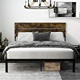 Einfach Rustic Platform Metal Bed Frame with Wooden Headboard and Footboard/Mattress Foundation with Strong Slat Support/No Box Spring Needed/Easy Assembly,Queen