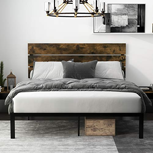 Einfach Rustic Platform Metal Bed Frame with Wooden Headboard and Footboard/Mattress Foundation with Strong Slat Support/No Box Spring Needed/ Easy Assembly,Queen
