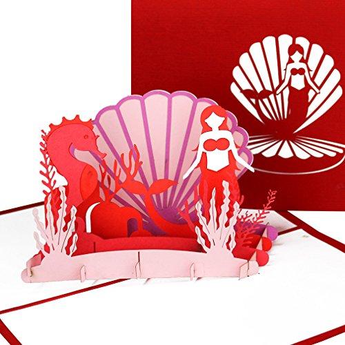 """3D Pop Up Karte """"Kleine Meerjungfrau"""" - Geburtstagskarte mit Meerjungfrau & Seepferdchen – Einladungskarte, Geschenk, Geschenkverpackung & Geschenkgutschein zum Kindergeburtstag"""