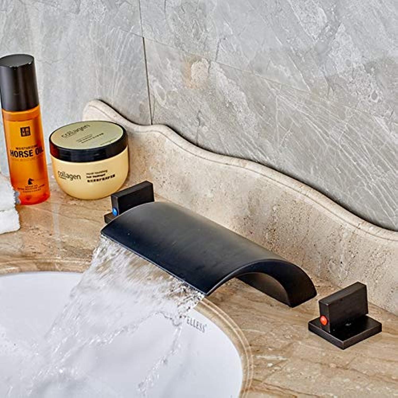 U-Enjoy Kronleuchter l Eingerieben Bronze Moderne Badezimmer Top-Qualitt Basin Wasserfall-Hahn-Doppelhandgriff Mixersink Kostenloser Versand