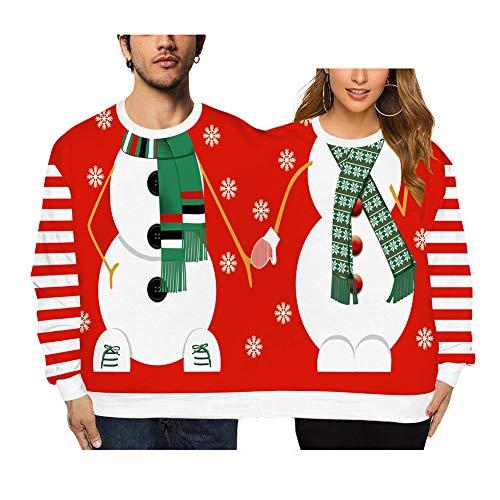 Twee Persoon Lelijke Kerst Trui, Kerstmis Koppels Pullover 2 persoon Sweatshirts Novelty Verbonden Twin Truien Lange Mouw Grappige Grafische Jumper Tops Shirt Blouses,h,F