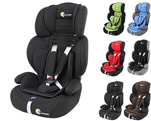 Clamaro \'Guardian\' Kinderautositz 9-36 kg mitwachsend, Auto Kindersitz für Kinder von 1-12 Jahre, Gruppe 1/2/3, ECE R44/04, Farbe: Schwarz